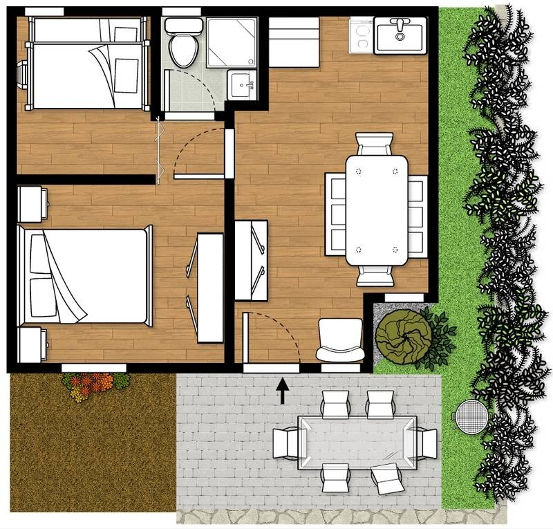 Planimetria bungalow monja francisco fertonani for Moderni progetti di bungalow e planimetrie